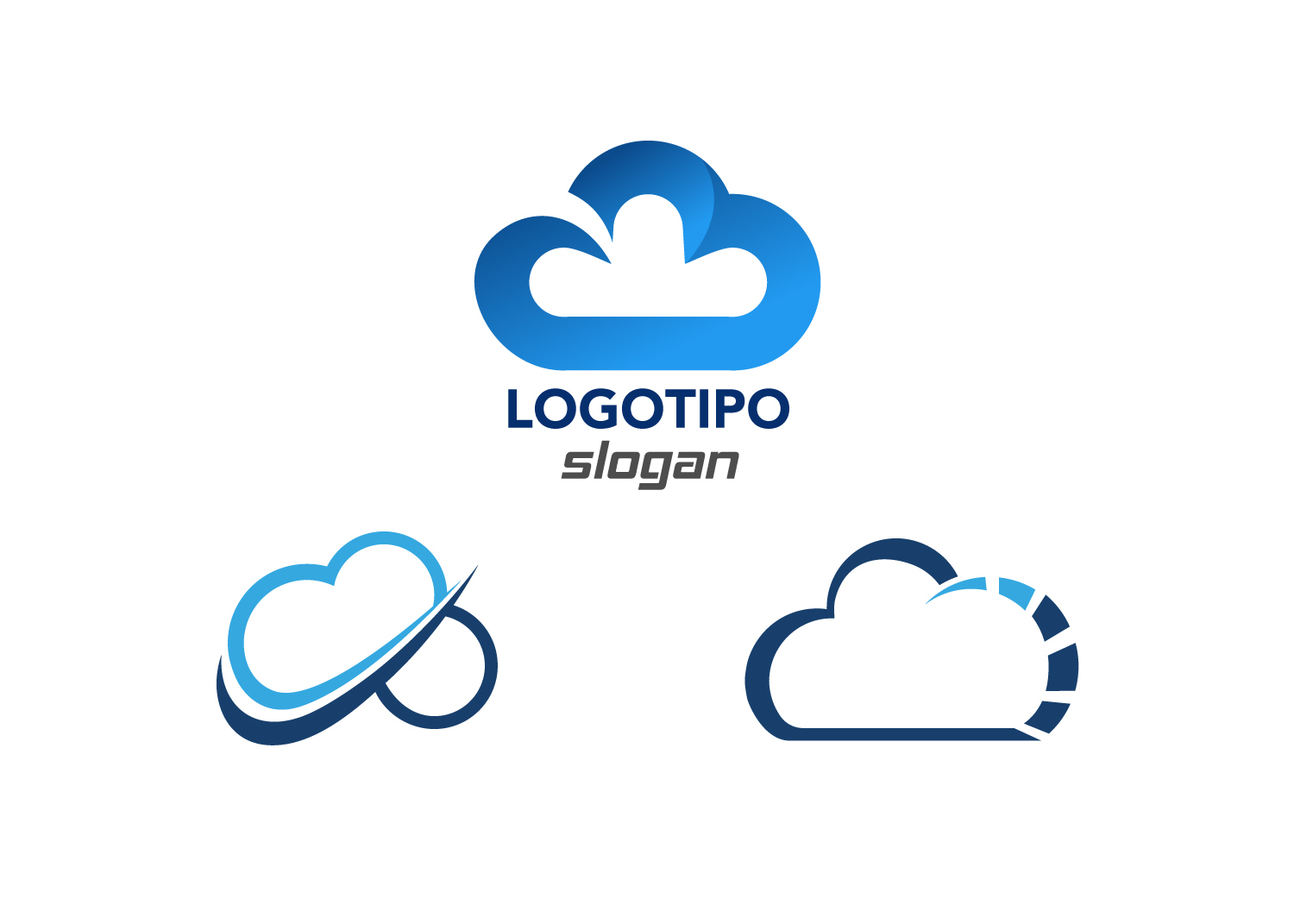 logotipos de nube copias stock