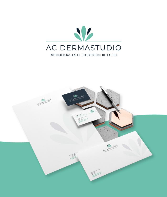 Centro de belleza especializado en el cuidado de la piel logotipo presentación mockup