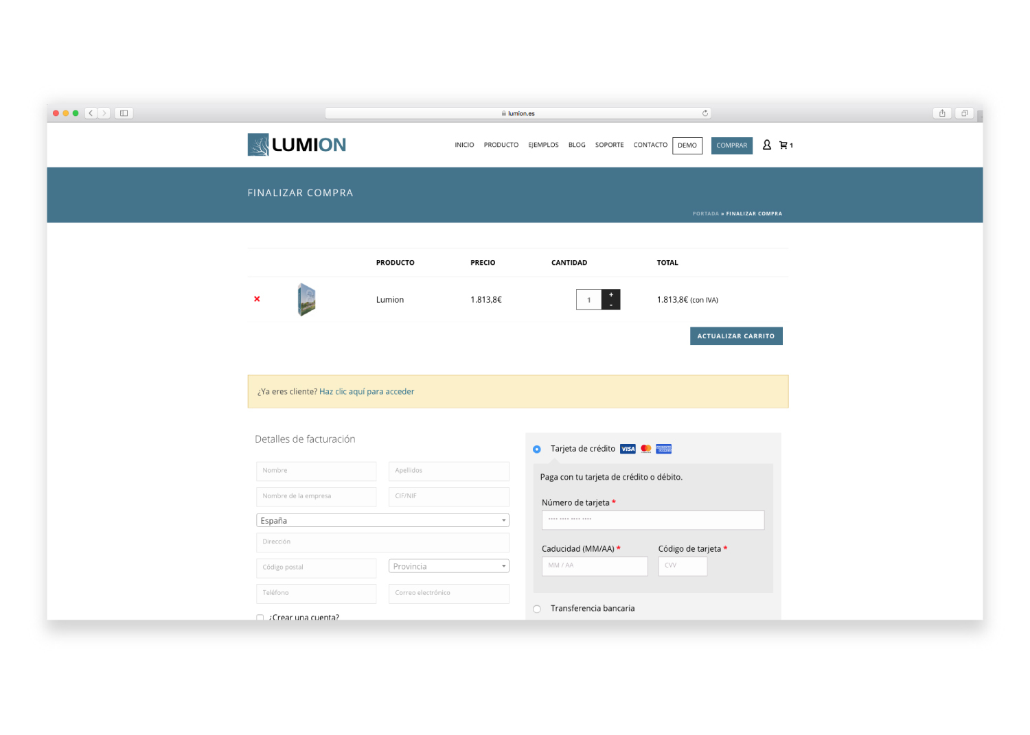 El checkout one page de Lumion.es