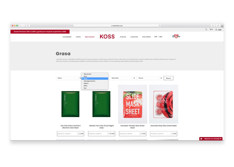Ficha de producto de Koss, tienda de cosmética