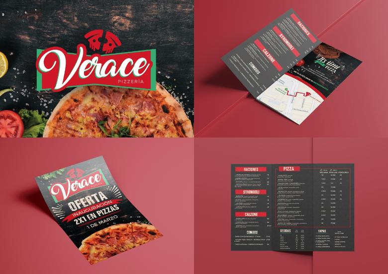 Diseño logo y menú pizzería