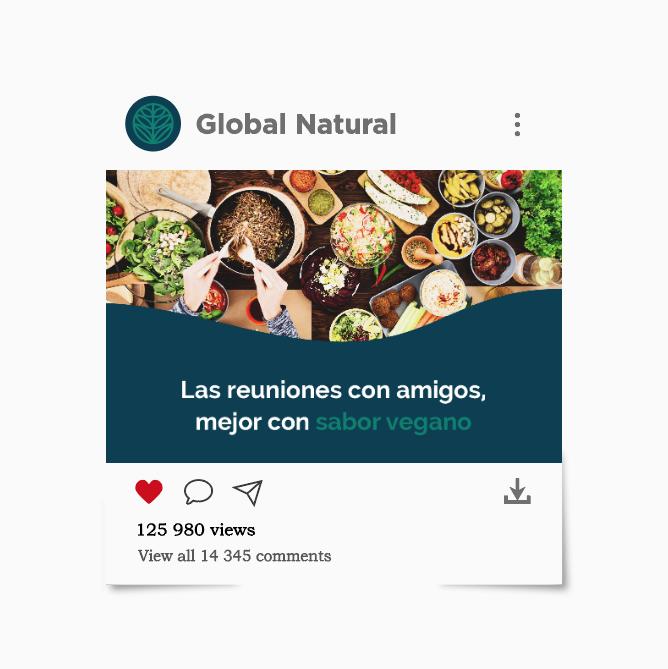 Diseño de redes sociales para Global Natural, tienda online de productos veganos