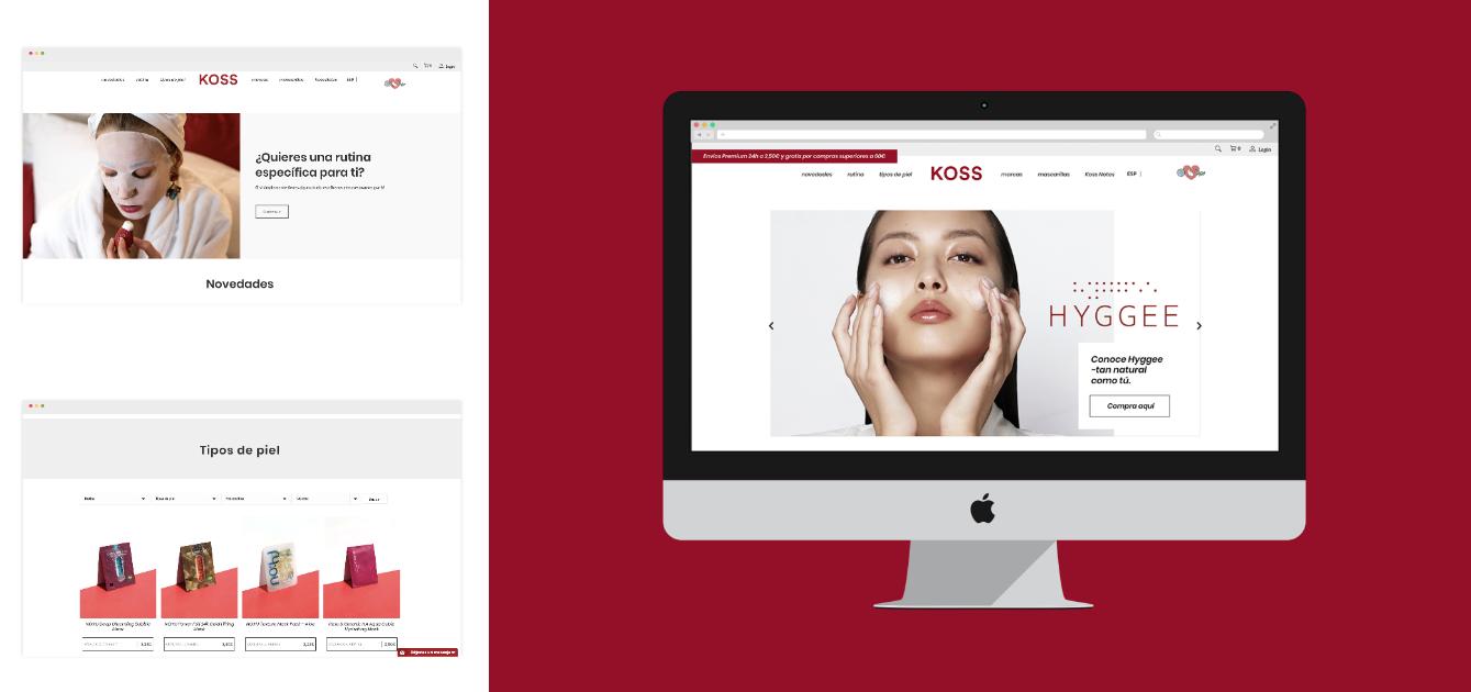 diseño de colores web cosmética Koreana