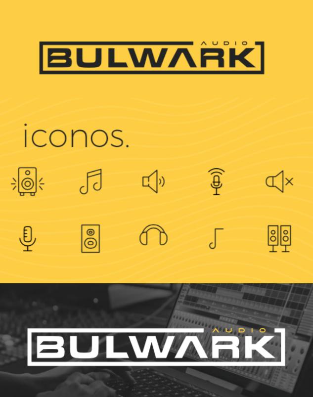 diseño iconos marca mezcla de música