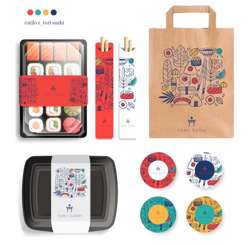 diseño de iconos y estilo comida japonesa