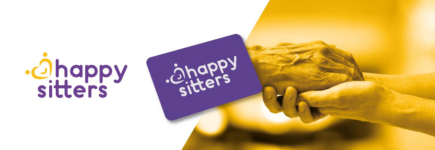 Happy sitters mockup tarjeta e imagen manos