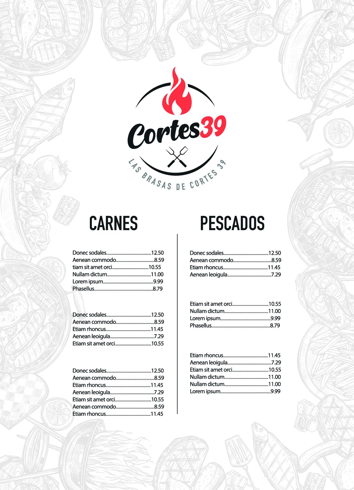 diseño de menu restaurante valenciano