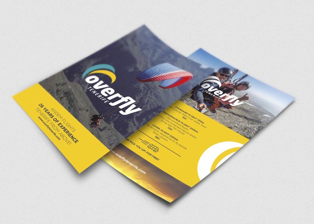 Diseñamos un folleto publicitario para una empresa de parapente en Tenerife