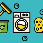 Vectores de una lavadora, un limpiacristales, una esponja y un cubo. Concepto de logotipos de limpieza