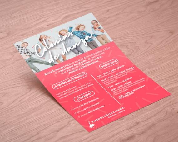 Flyer para cursos de verano en escuela de danza