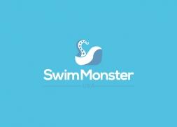 Diseño logo monstruo marino tienda natación
