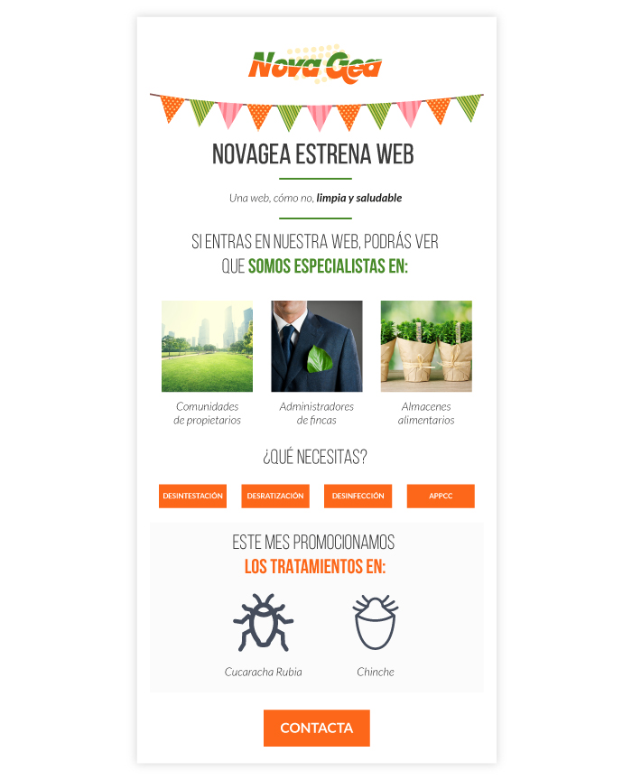 Diseño de campaña de mail marketing para empresa de desinfección