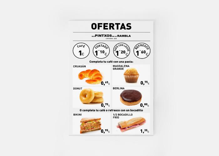 Diseño de cartel con ofertas de desayunos para cafetería bar en cataluña