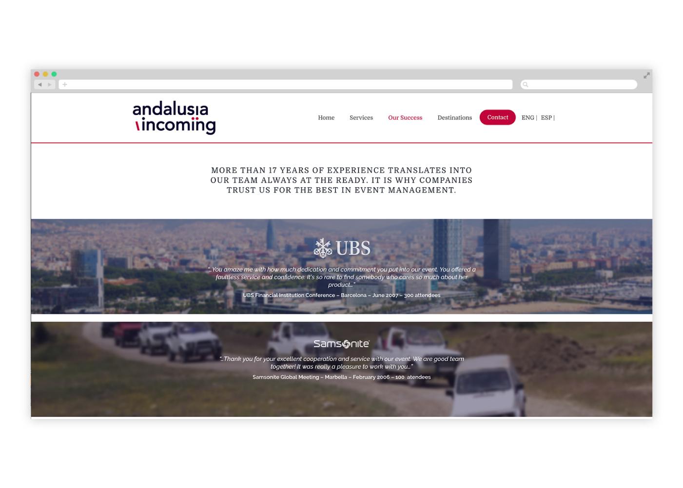 Diseño web para empresa de viajes de incentivos