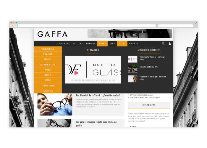Diseño de blog para tendencias en gafas