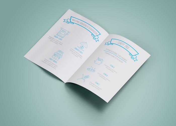 Diseño de díptico para una empresa basada en el concepto de comida social