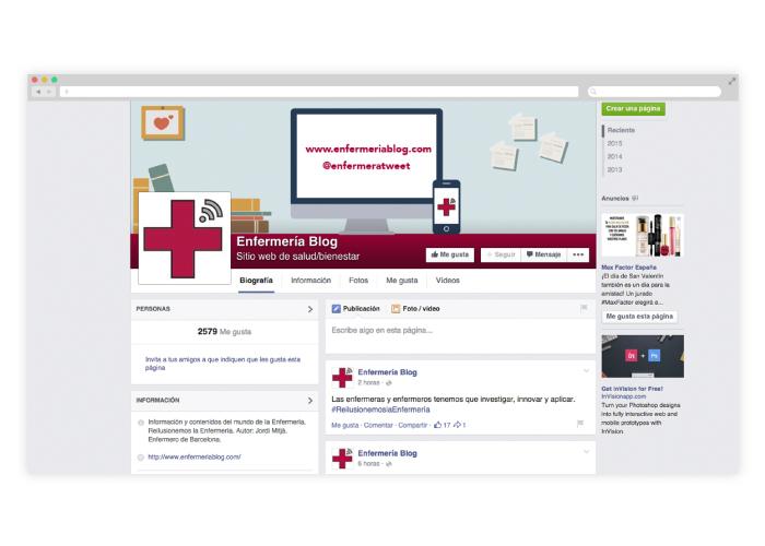Diseño de redes sociales para blog sobre enfermería