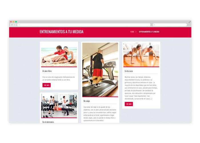 Diseño blog de entrenador personal