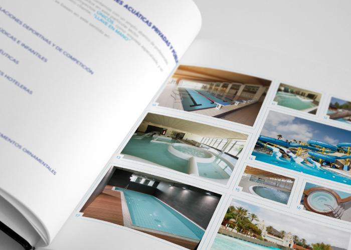 Diseño dossier empresa construcción proyectos acuáticos