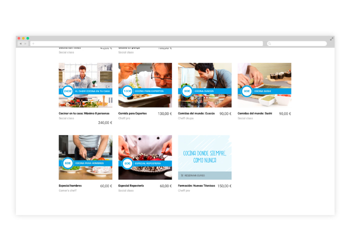 Diseño y desarrollo de tienda online de cursos de cocina