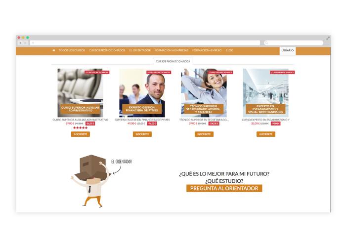 Desarrollo y diseño para una web de cursos online en Sudamérica y España