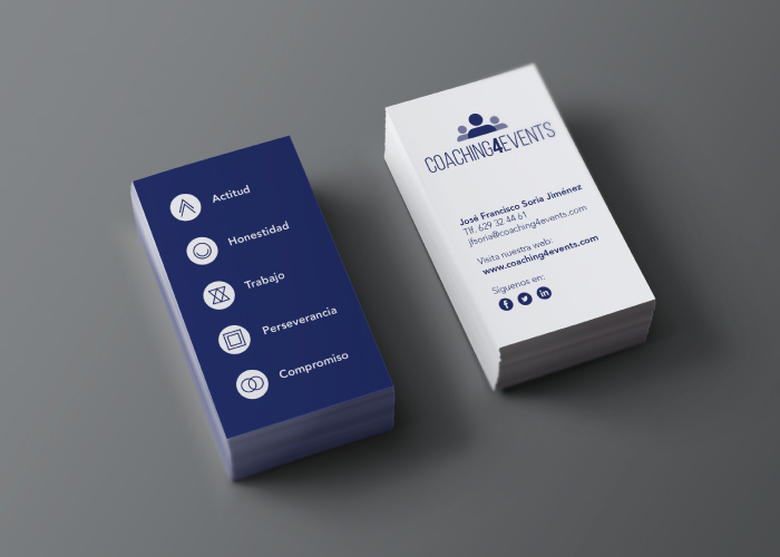 Diseño de tarjeta para coach de eventos