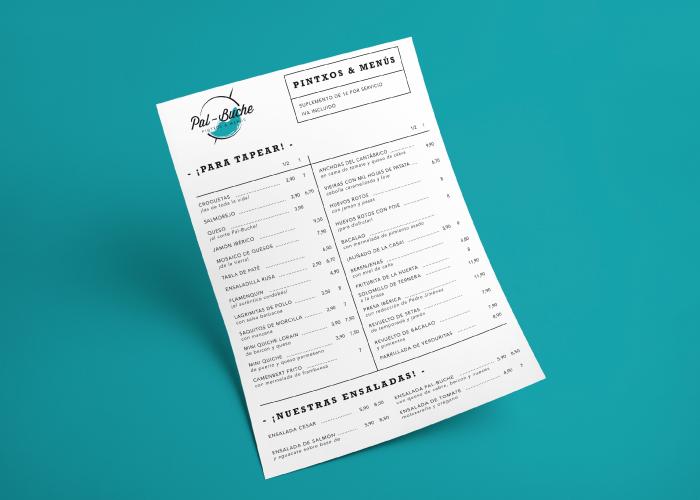 Diseño de carta menú para bar de Pintxos en Málaga
