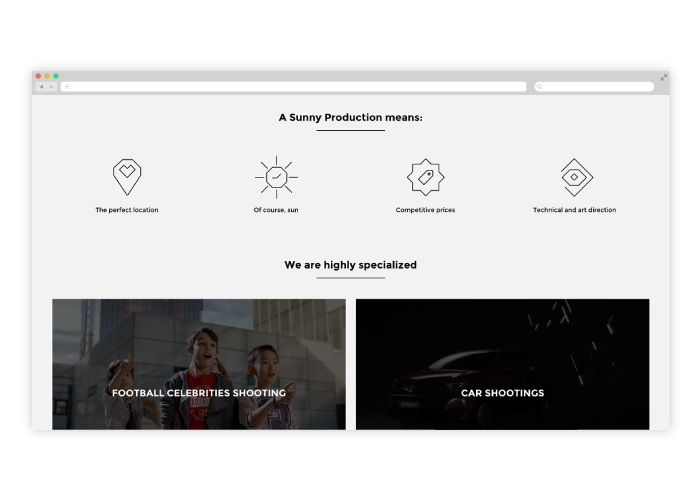 Diseño web para productora audiovisual