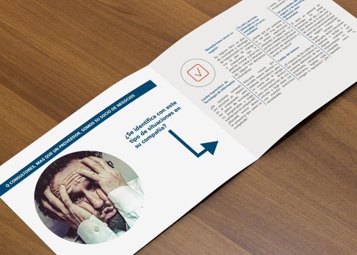Diseño de dossier para empresa dedicada a la consultoría de estrategia de negocios, tecnología e informática