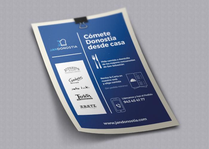 Diseño flyer para una empresa que reparte comida a domicilio