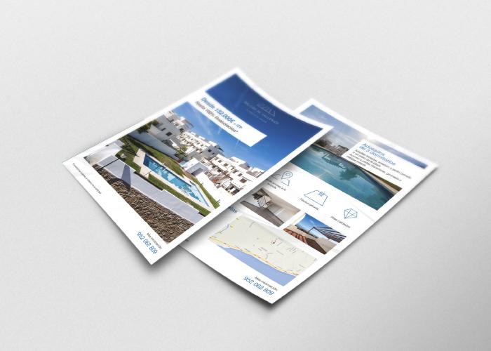 Diseño flyer promoción inmobiliaria en Málaga