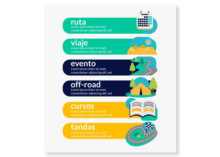 Diseño de ilustraciones para app de viajes en moto