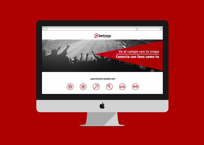 Diseño de landing web red social de eventos deportivos
