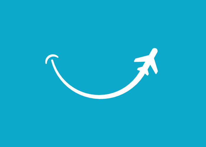 Diseño logo avión y sonrisa