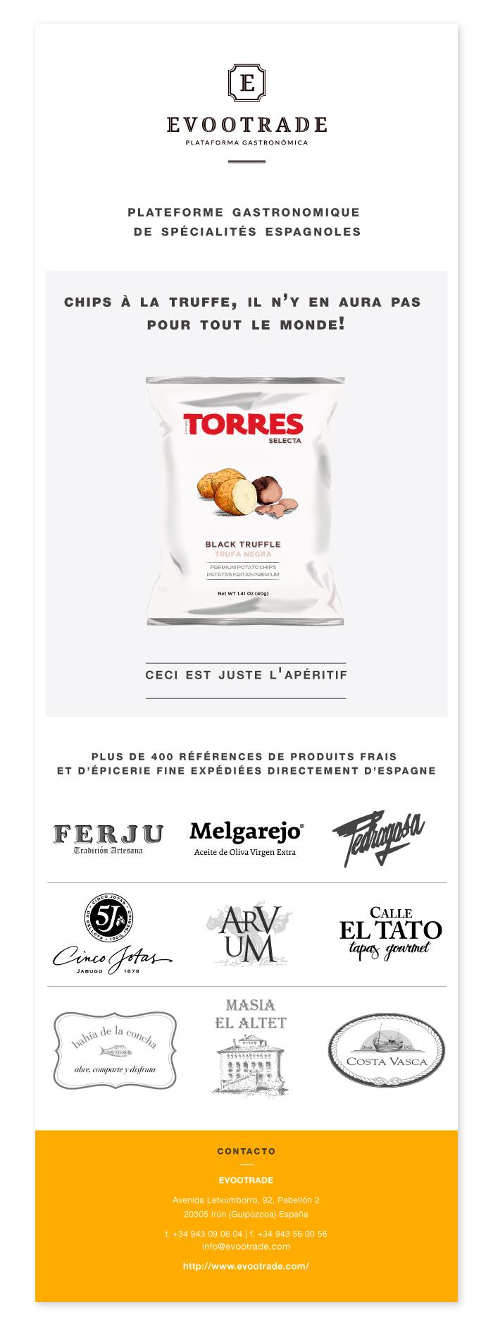Diseño y desarrollo para la campaña de mail marketing de una empresa dedicada a la distribución de productos gastronómicos gourmet