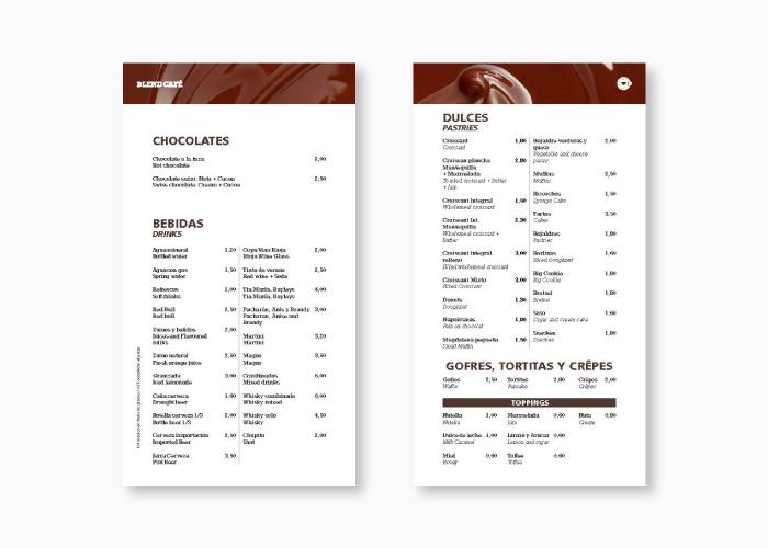 Diseño de carta café