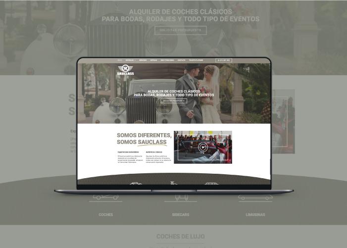 Mock up y presentación de la web de Sauclass, de alquiler de coches clásicos