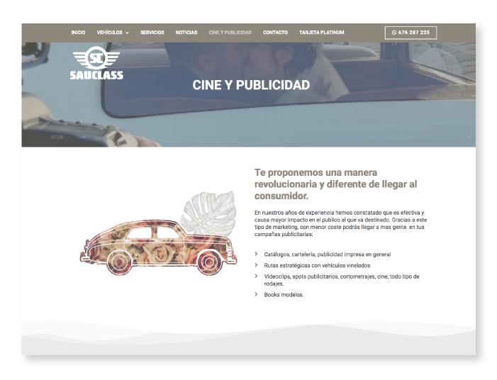 Captura de pantalla de la web de Sauclass, con alquiler de vehículos para bodas