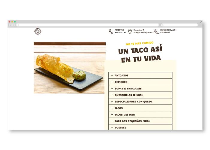 Diseño de página web para restaurante mexicano en Málaga