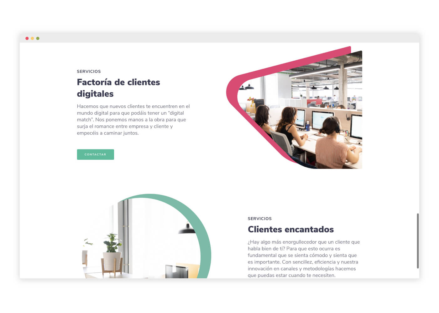 diseño web call center