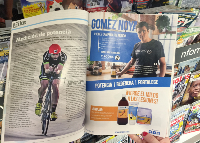 Diseño publicitario de productos deportivos para revista deportiva