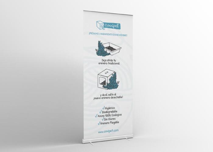 Diseño de roll up para wc desechable para gatos