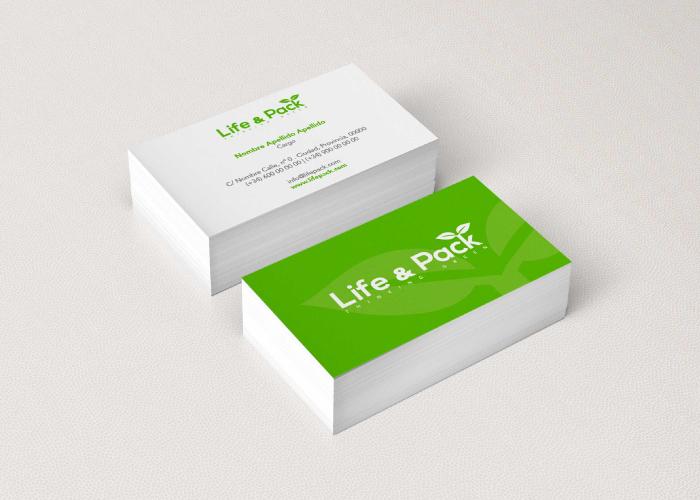 Diseño de tarjetas para una empresa de packaging biodegradable