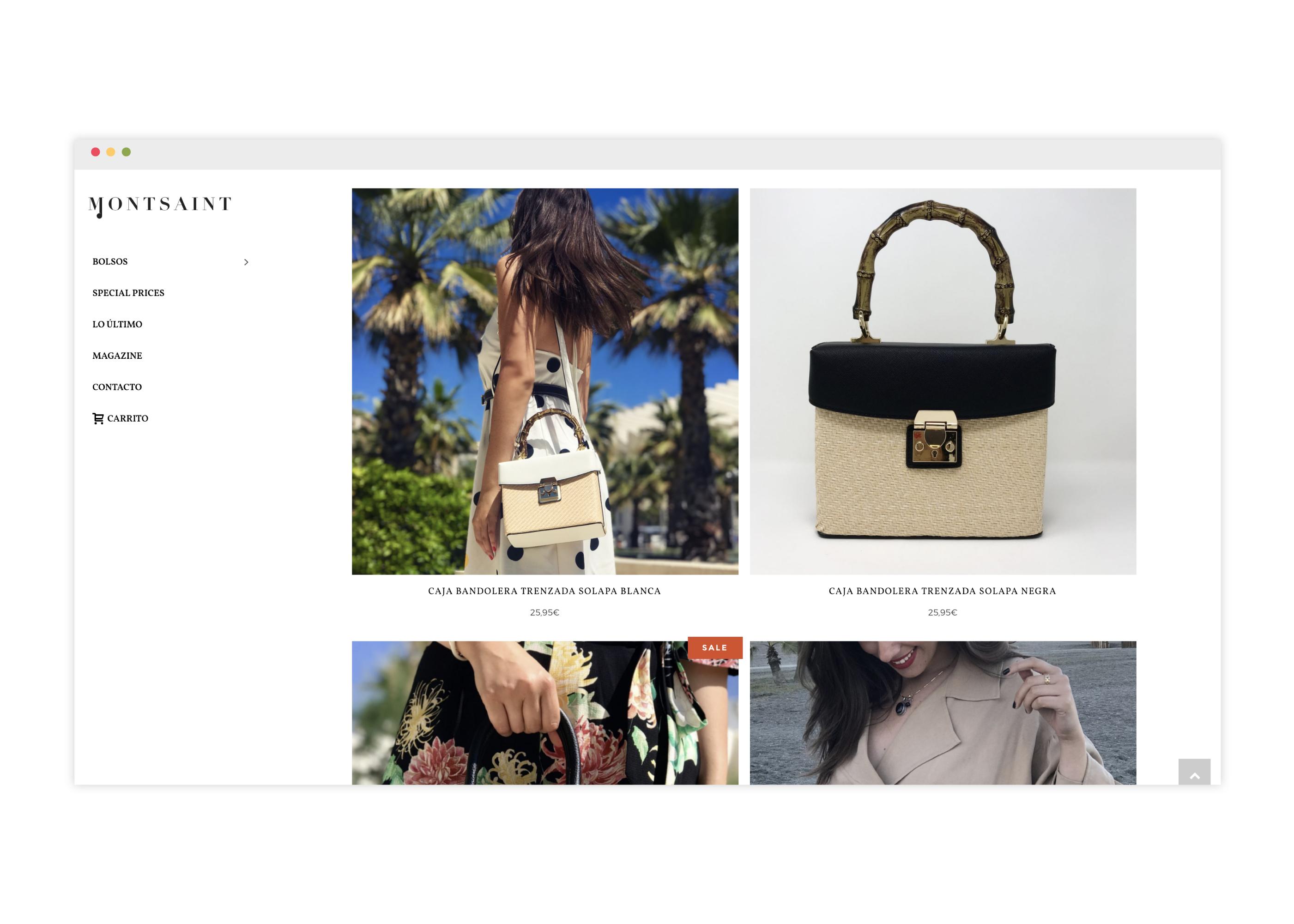 Diseño de tienda online de bolsos responsive
