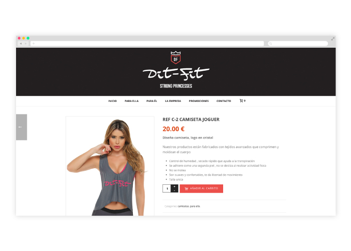 Diseño tienda online ropa deportiva