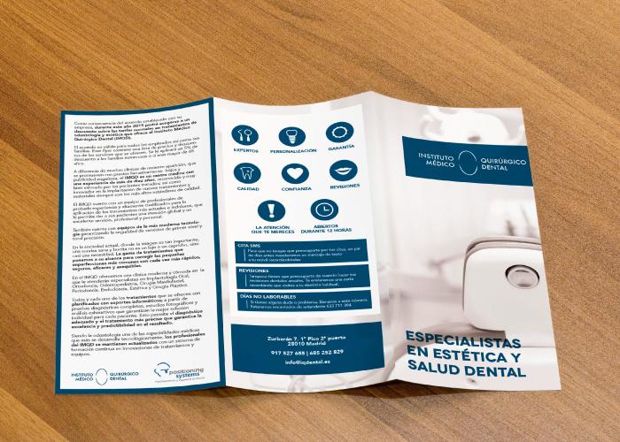 Diseño de folleto informativo para instituto quirúrgico dental