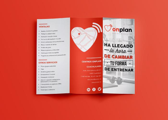 Diseño de tríptico para empresa de electroestimulación en Guadalajara