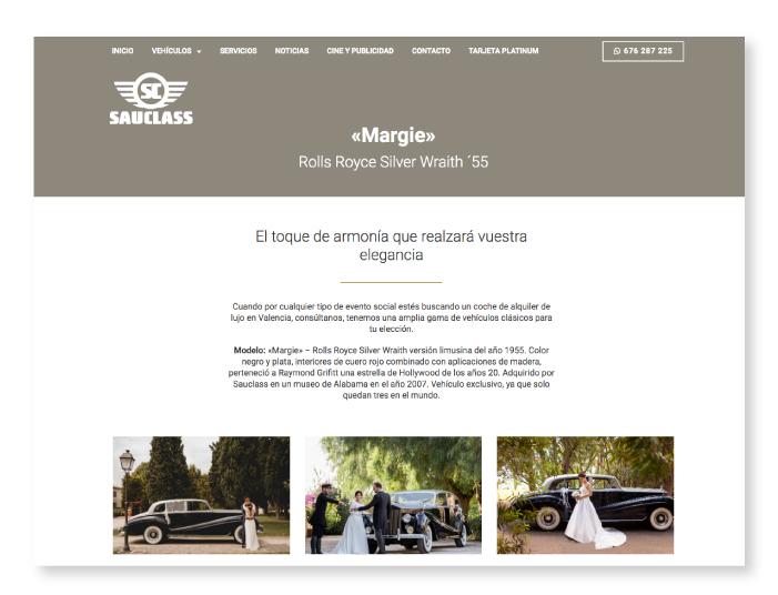 Diseño web a medida de la web de Sauclass, orientada al alquiler de coches clásicos