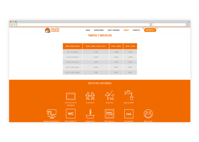 Diseño de web para una empresa que se dedica al camping con autocaravanas