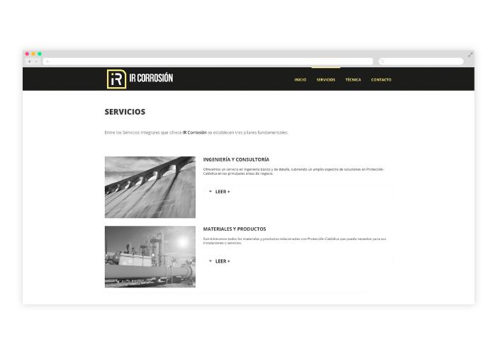 Diseño de web para una empresa que se dedica a la protección catódica